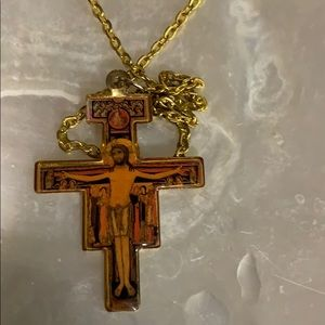Enameled cross with Jesus pictured
